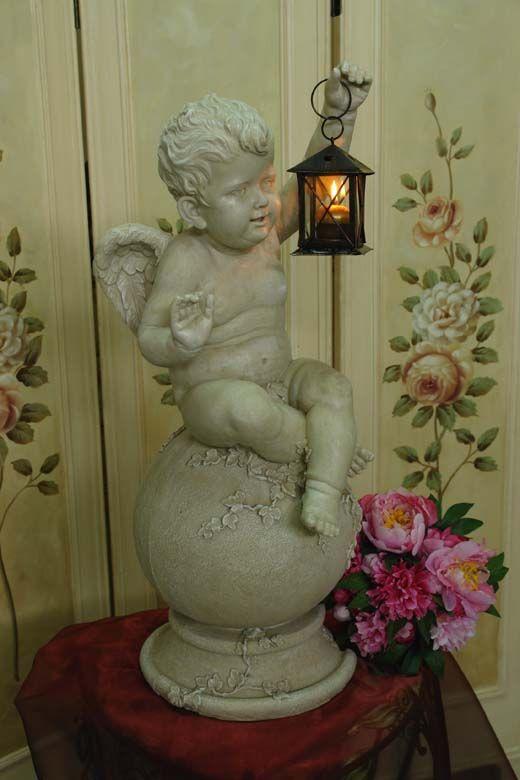 Przepiękna Duża Figura Ogrodowa Aniołek Z Latarenką